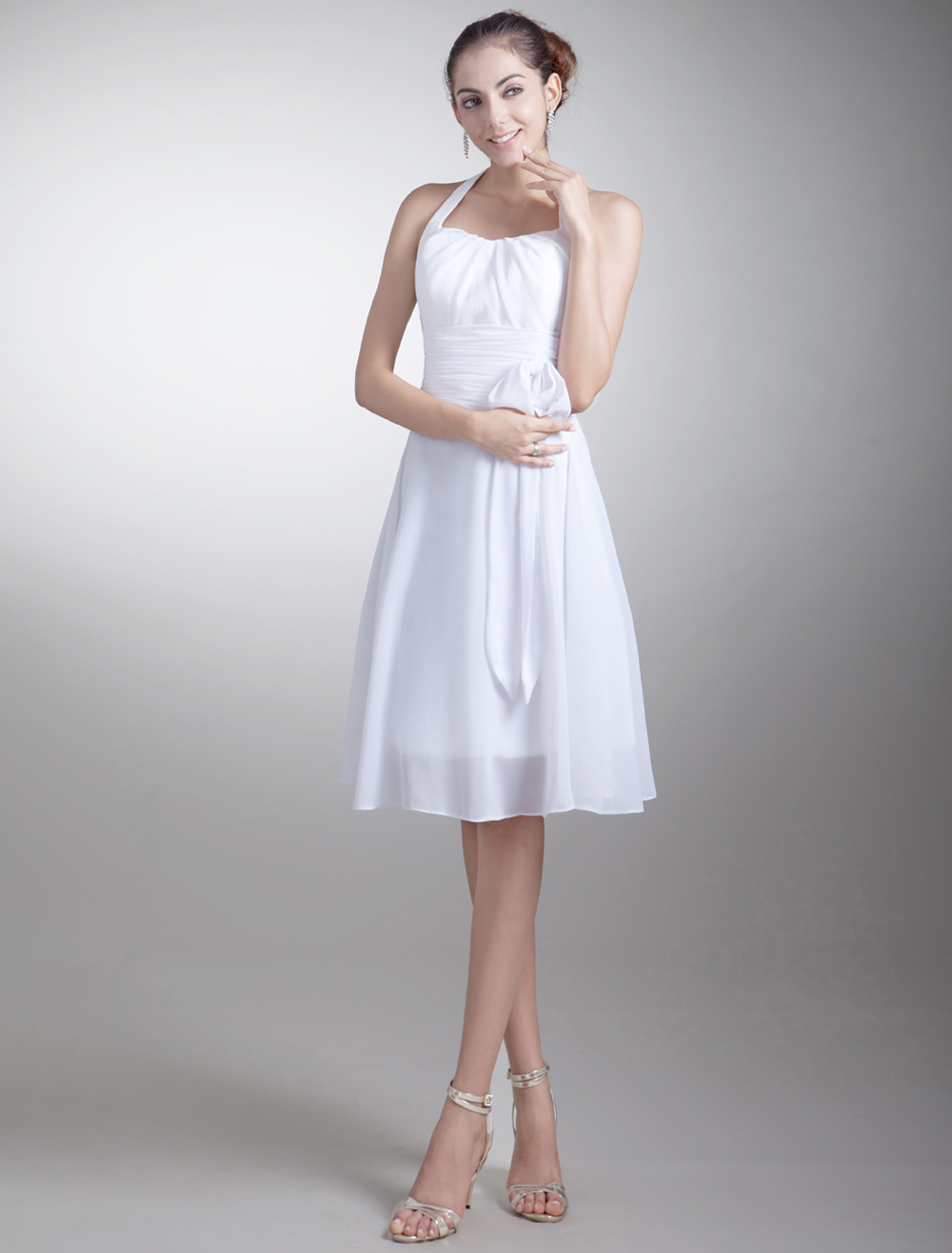 A-line White Chiffon Sash Halter Knee-Length Wedding Bridesmaid Dress