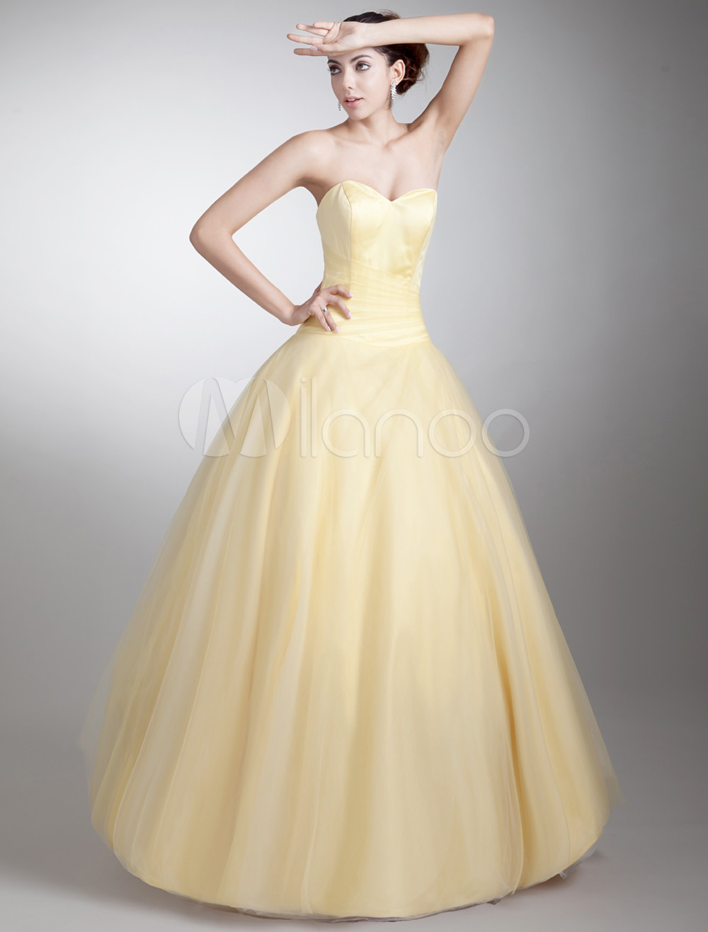Ball Gown Daffodil Net Tiered Sweetheart Neck Floor-Length Women's Prom Dress