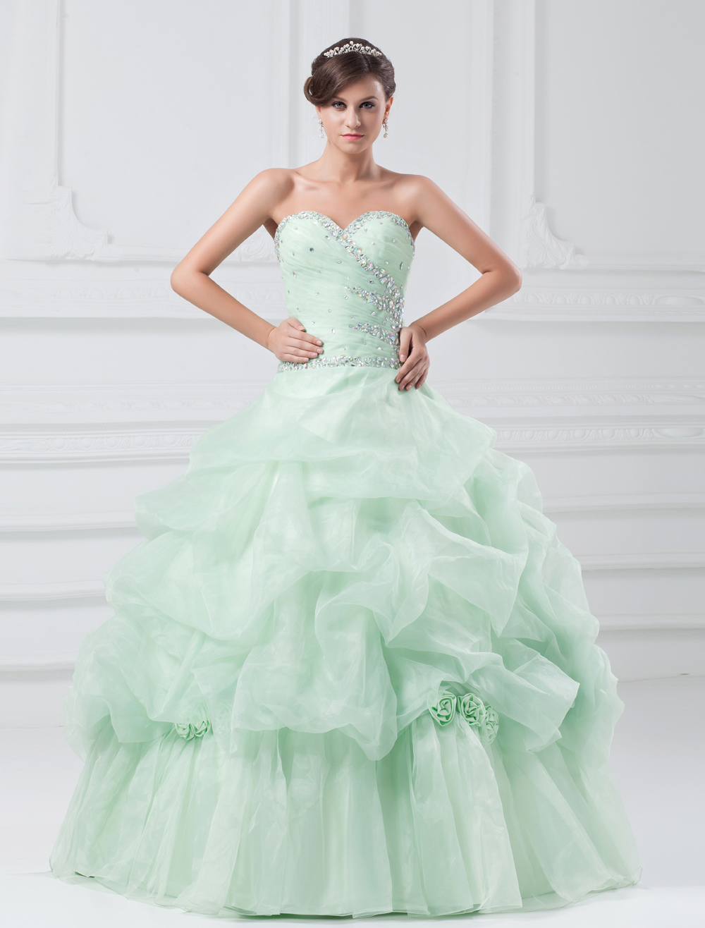 Green Tulle Rhinestone Sweetheart Neck Floor-Length Women's Prom Dress
