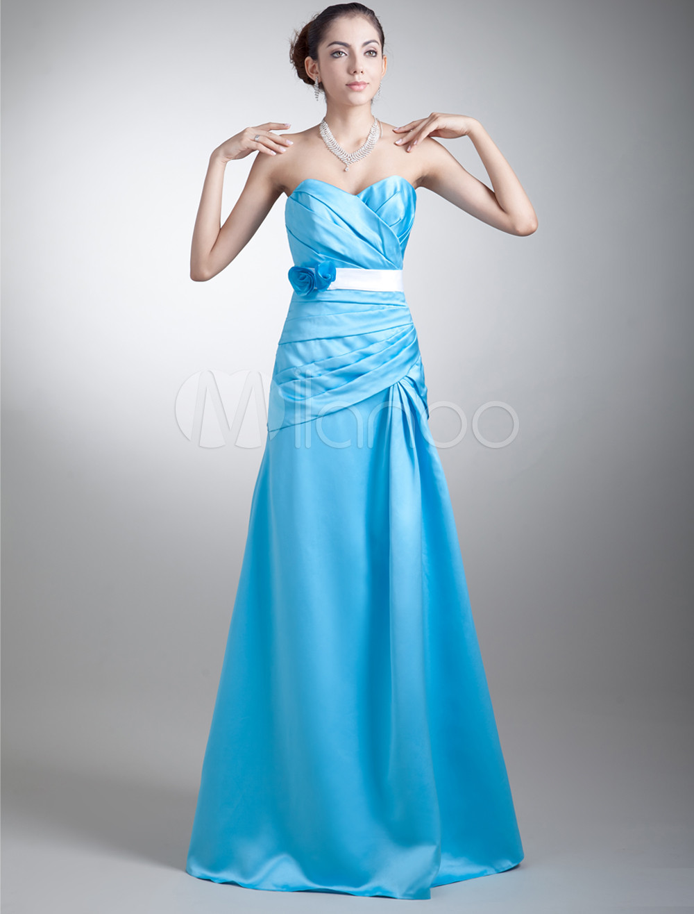 Sheath Blue Satin Floral Sweetheart Neck Fashion Bridesmaid Dress