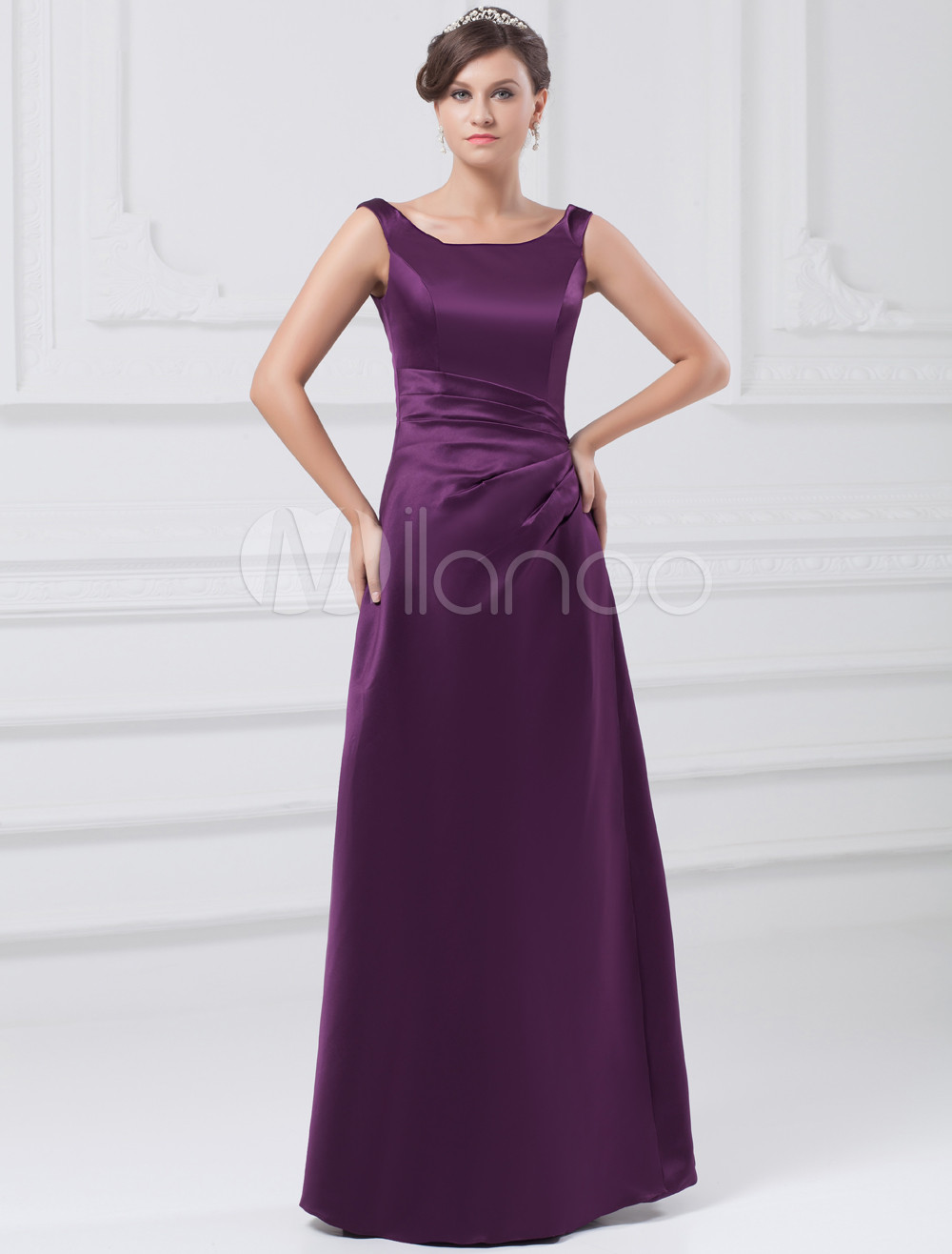 Sheath Grape Satin Scoop Neck Floor-Length Bridesmaid Dress For Wedding