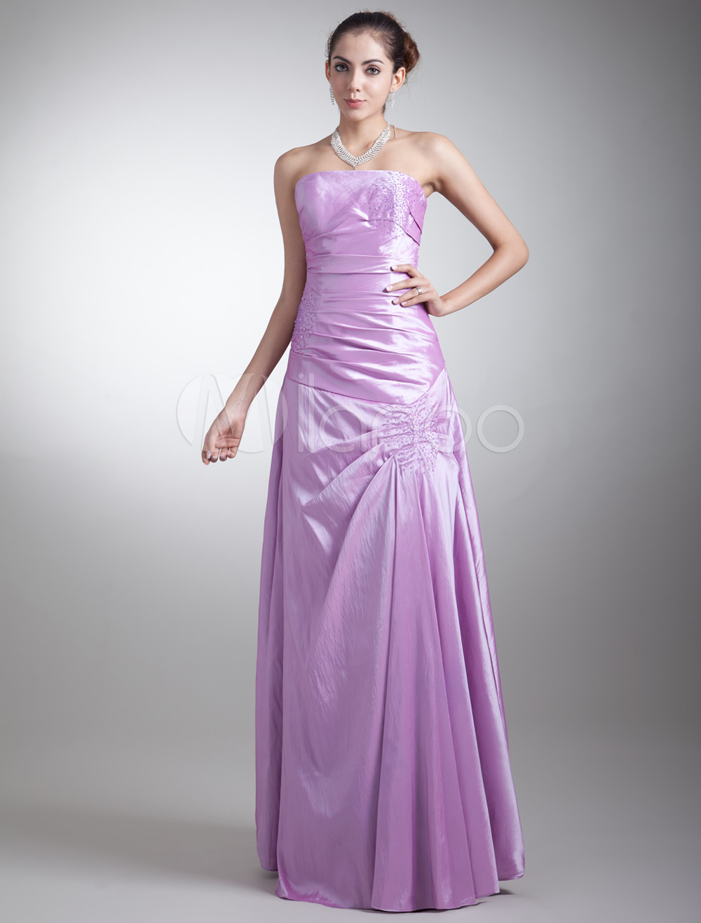 Sheath Lilac Taffeta Beading Strapless Bridesmaid Dress For Wedding