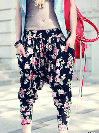 Brilliant Summer Women Floral Printed Harem Pants Women39s Casual 7 Minutes Pants