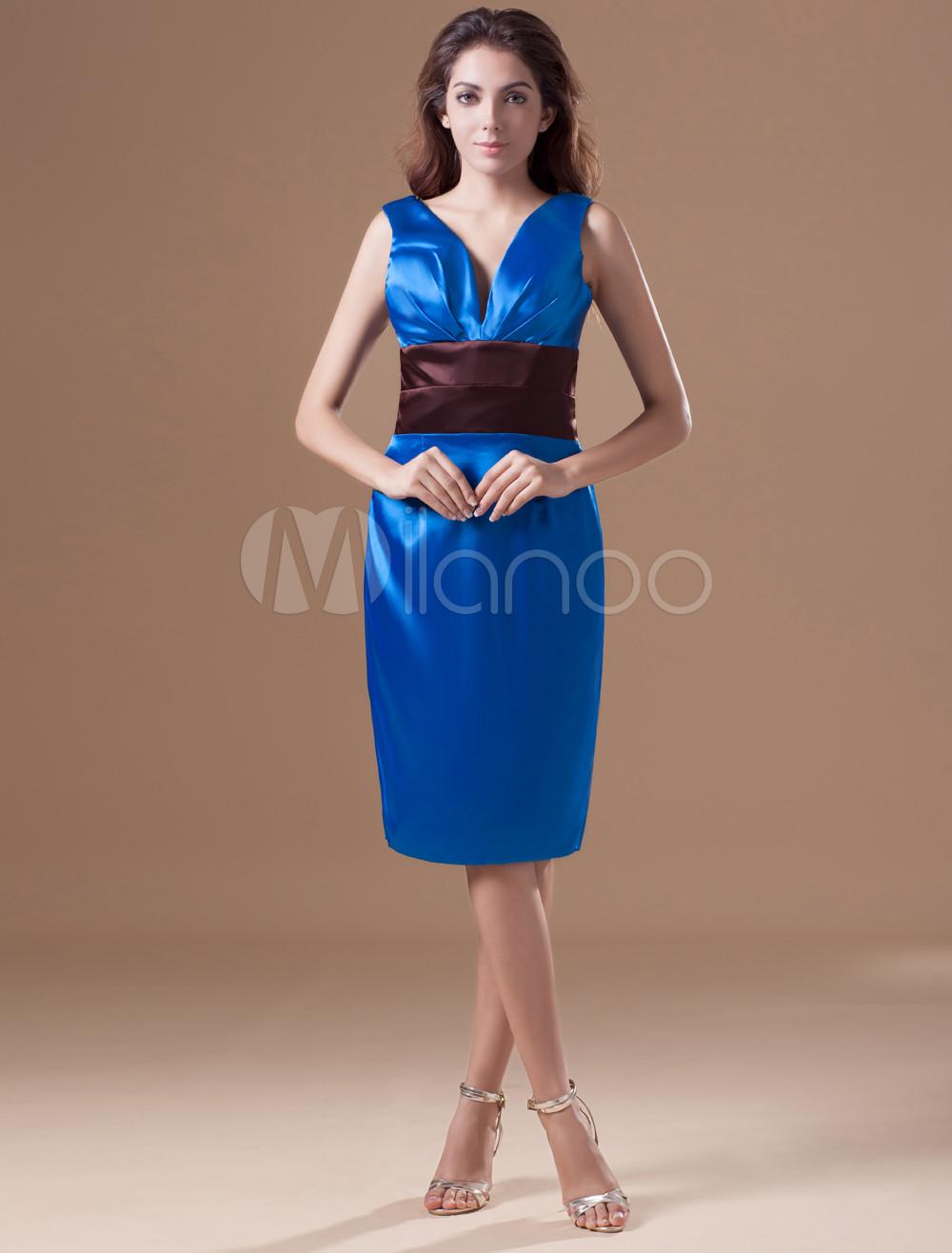 robe de soire boule bleu royal en satin hors de lpaule longueur genou milanoocom - Milanoo Robe De Soiree Pour Mariage
