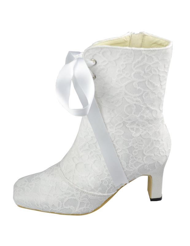 Beliebte Damen Hochzeit Stiefel Mit Schnuren Und Blockabsatzen In Elfenbeinfarbe