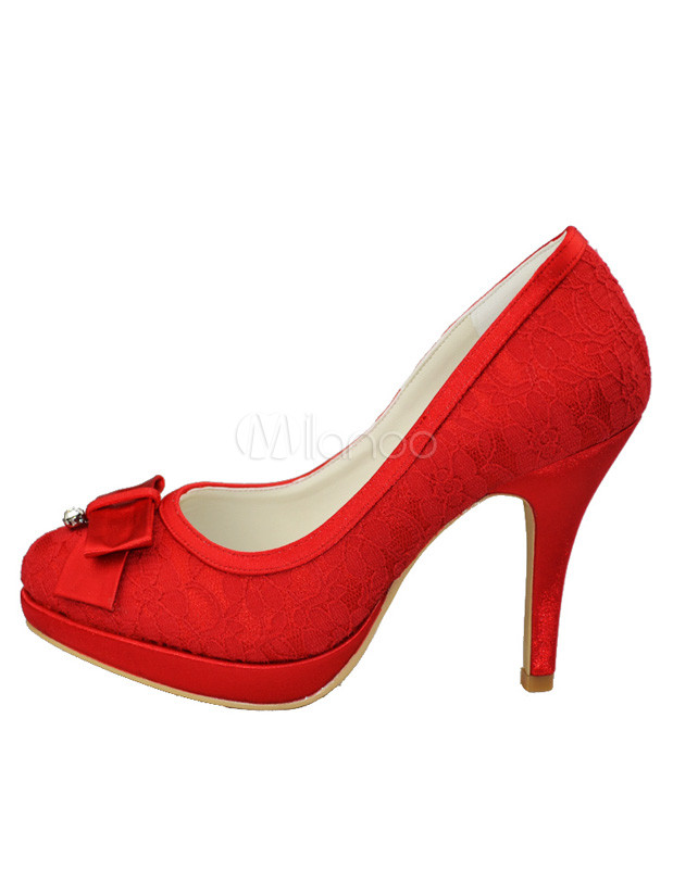 Pretty Red Satin Lace Bow 3 9/10'' High Heel Wedding Shoes ...