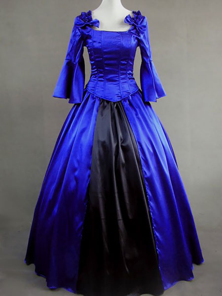 Aristocrat Lolita Renaissance Victorian Blue Long Dress Ball Gown $108.99 AT vintagedancer.com