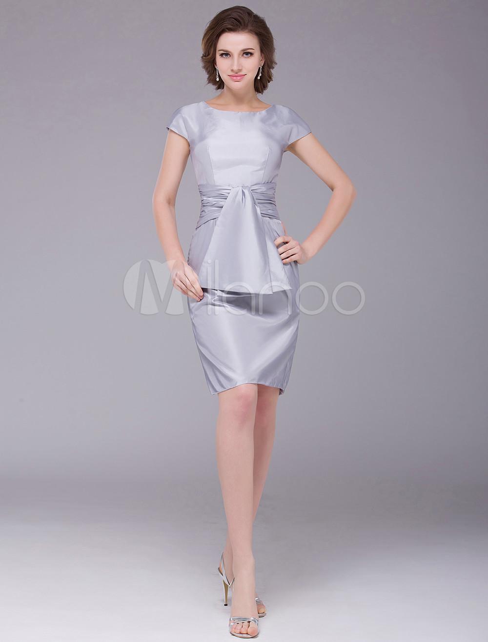 Beautiful Silver Sheath Pleated Zipper Taffeta Bridal Mother Dress Wedding Guest Dress photo