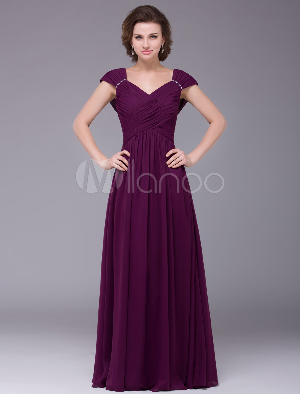 Glamorous Grape Purple Floor Length A-line Chiffon Mother of the Bride Dress