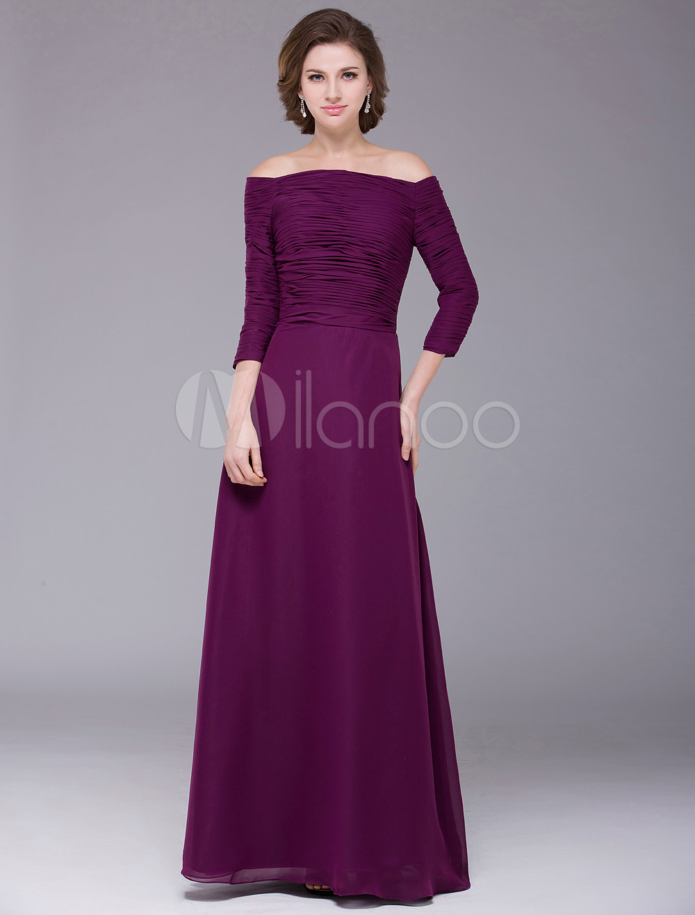 Grape A-line Pleated Off-The-Shoulder Chiffon Glamourous Bridal Mother Dress with Bateau Neck 3/4 Length Sleeves
