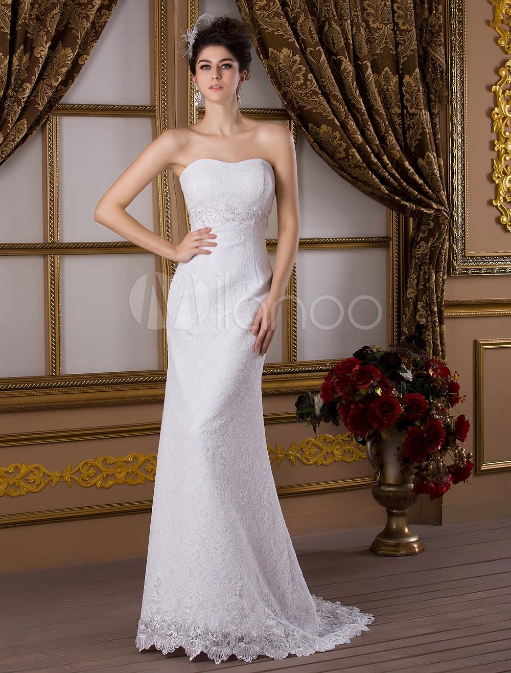 Sweep White Bride's Wedding Dress with Sweetheart Neck Mermaid Beading