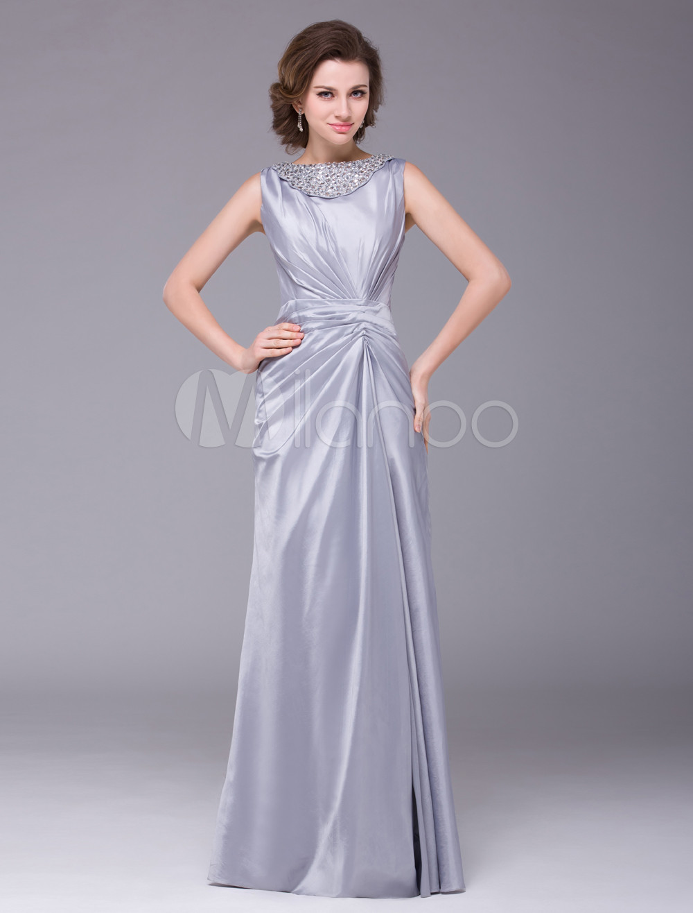 Silver Sleeveless Ruched Waistline Taffeta Mother of the Bride Dress Wedding Guest Dress photo