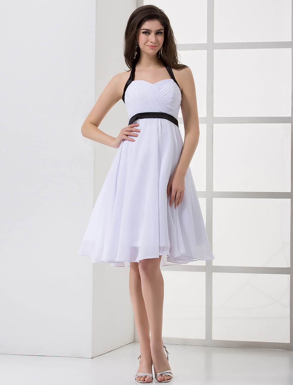 White Empire Waist Halter Sash Satin Chiffon Bridesmaid Dress
