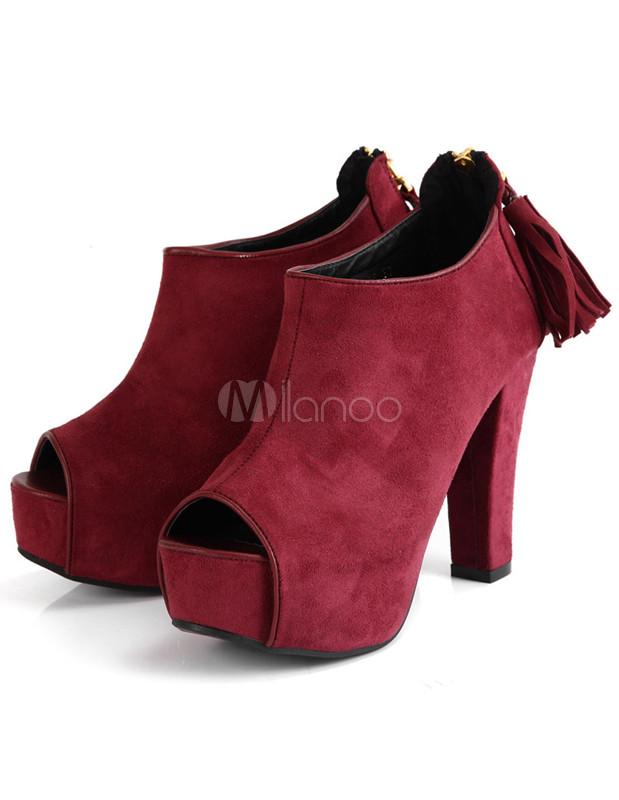 Burgundy Peep Toe Chunky Heel Woman's High Heel Booties - Milanoo.com