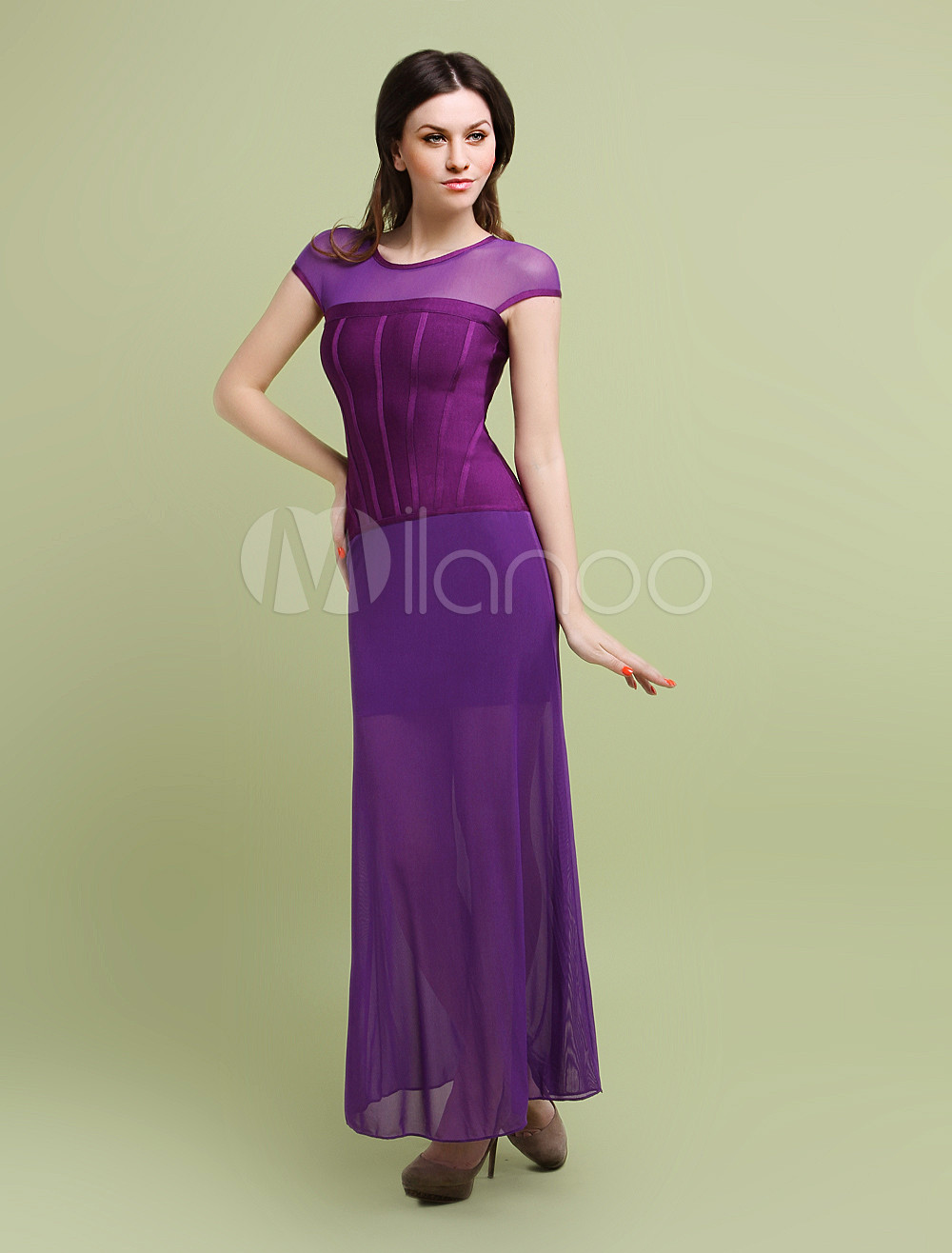 Purple Floor Length Rayon Woman's Party Dress