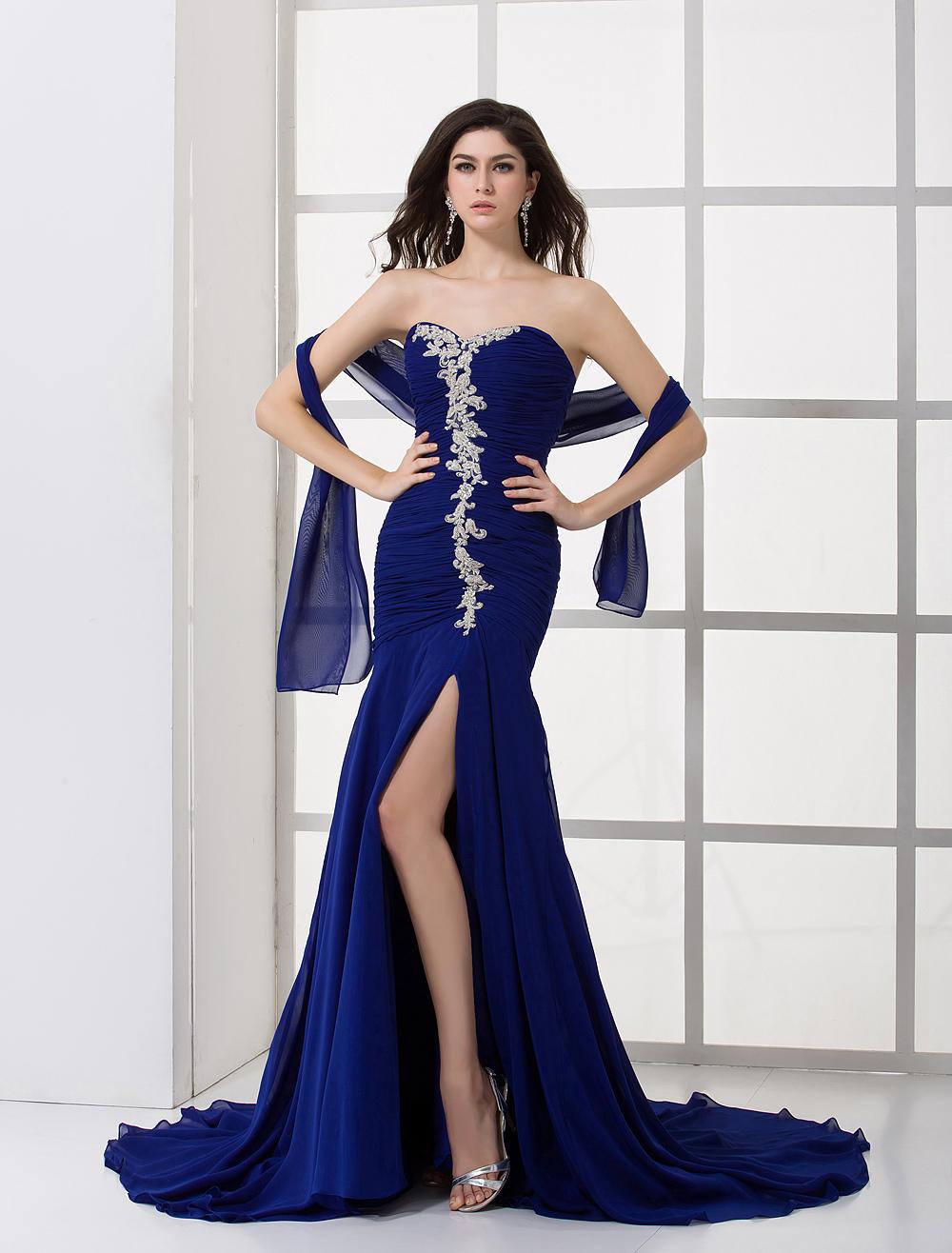 Royal Blue Chiffon Pleated Sweetheart Evening Dress (Wedding Evening Dresses) photo