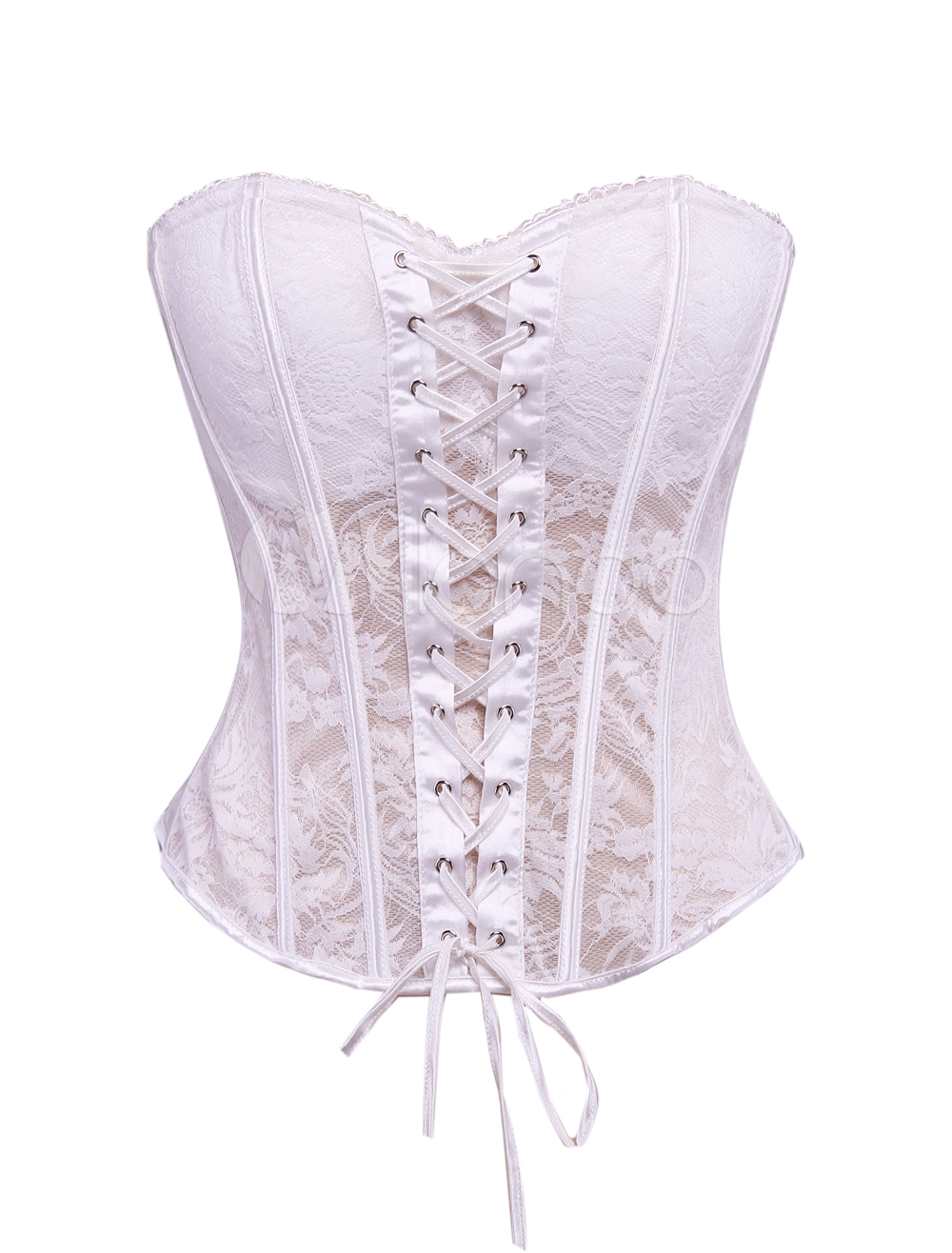White lace women 39 s overbust corset for wedding dress for White corset wedding dress