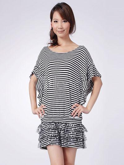Stylish Black White 100% Cotton Striped Dress For Ladies