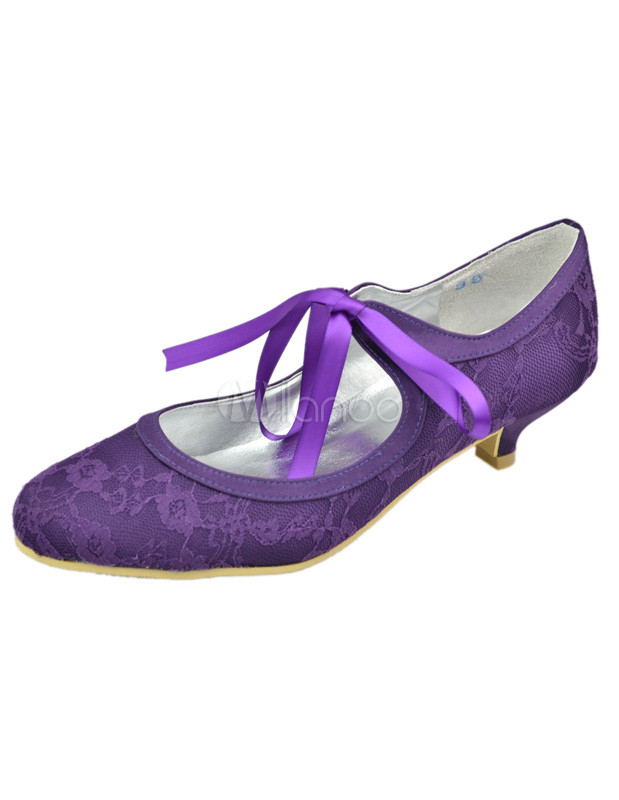 Purple bridal shoes low heel – Wedding theme blog