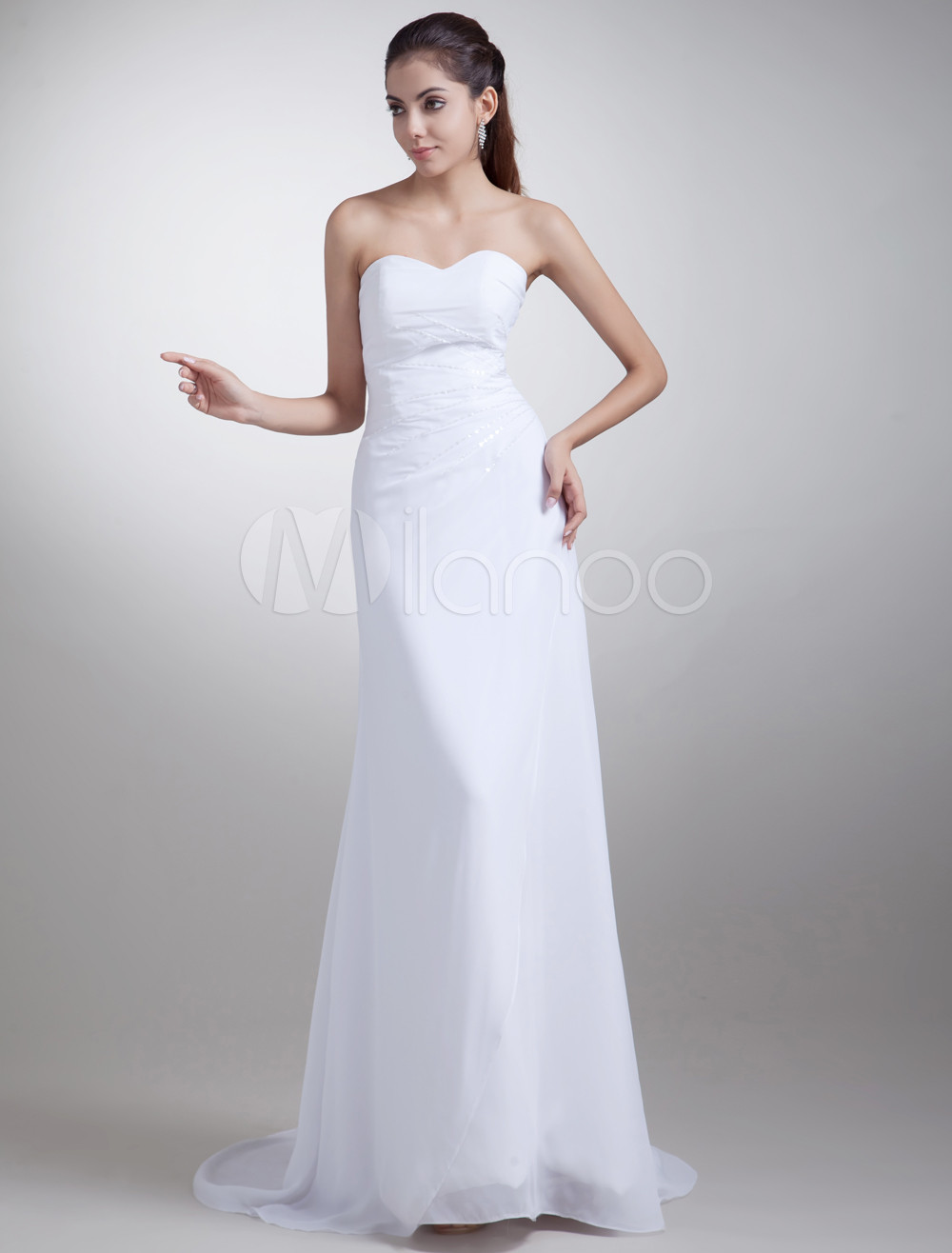 Modern White Sheath Strapless Beading Chiffon Bride's Wedding Dress photo