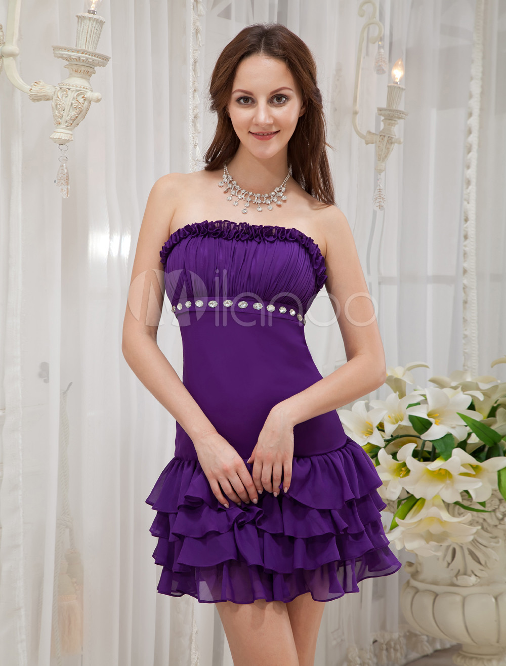 Purple Ruffles Strapless Rhinestone Chiffon Homecoming Dress