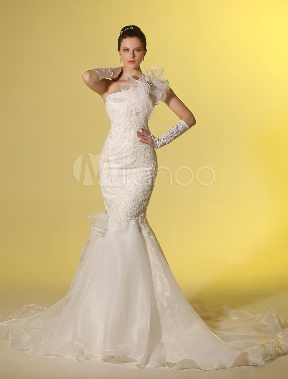 Sweep Ivory One Shoulder Mermaid Brides Wedding Dress