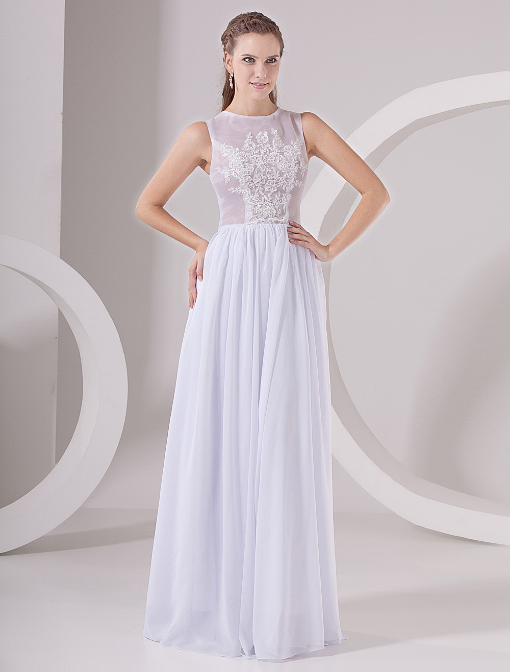 White Chiffon Ladies Special Occasion Dress (Wedding Evening Dresses) photo