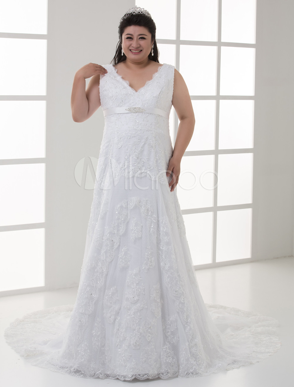 White sheath v neck beading lace plus size bridal wedding for Plus size sheath wedding dress