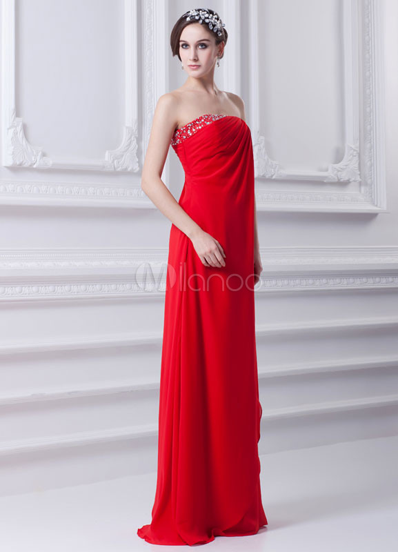Elegant Red Chiffon Beading Strapless Women's Evening Dress