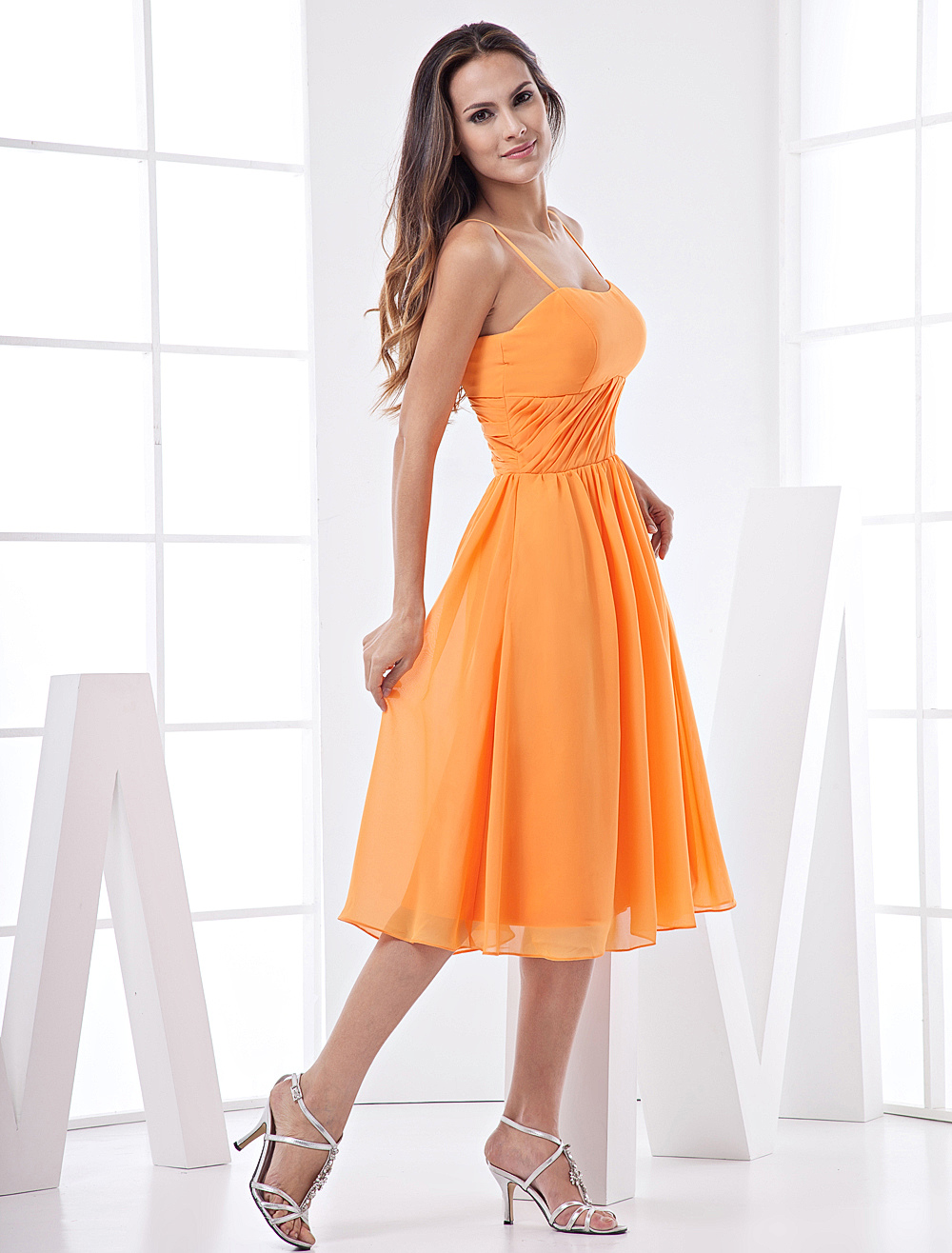 Lovely Spaghetti Tea Length Chiffon Bridesmaid Dress