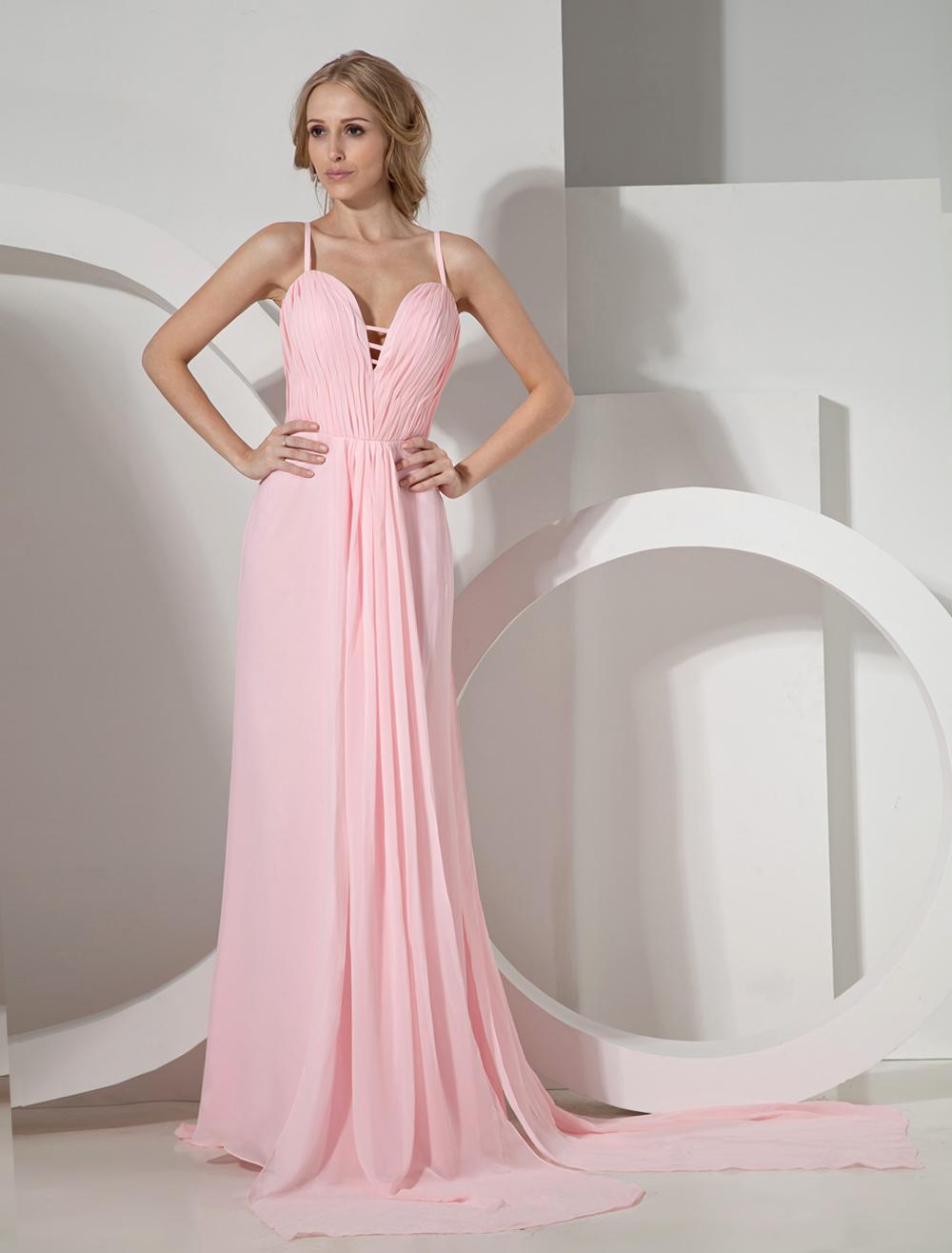 Pink Sheath Spaghetti Chiffon Woman's Evening Dress (Wedding Evening Dresses) photo