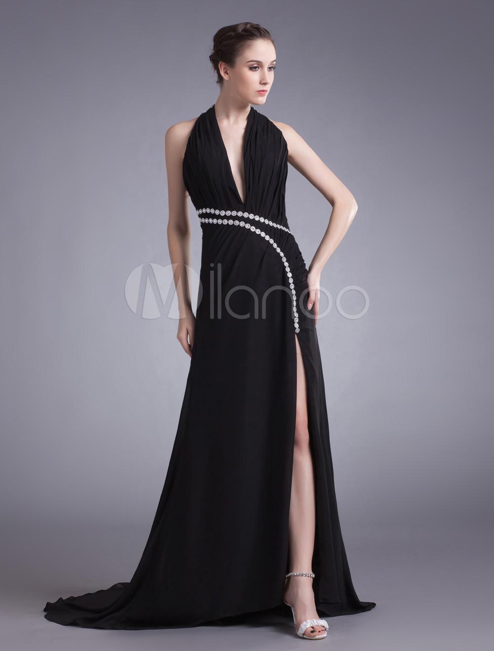 Sexy Black Chiffon Rhinestone Halter Fashion Evening Dress (Wedding Evening Dresses) photo