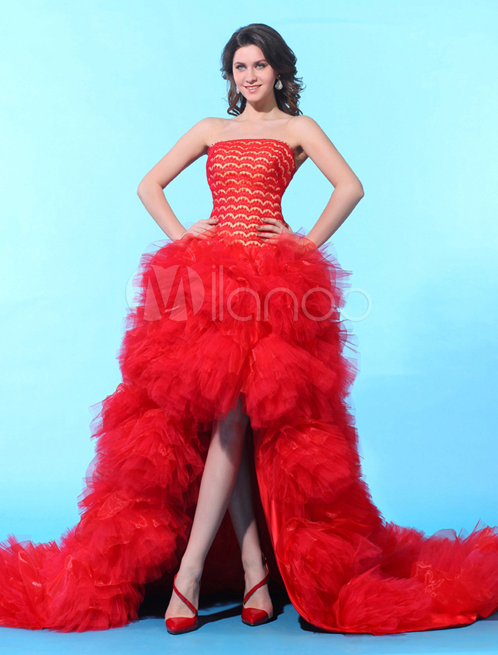 Ball Gown Red Tulle Lace Strapless Sweep Women's Prom Dress