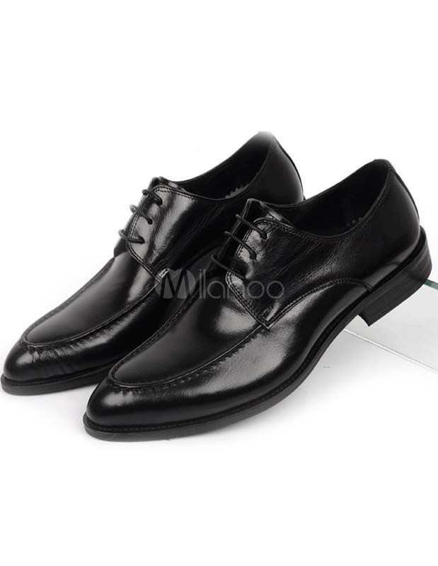Modern black almond toe cowhide dress shoes for men milanoo com