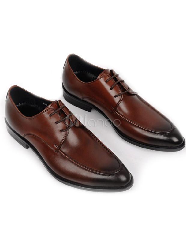 Modern Brown Almond Toe Cowhide Man's Dress Shoes - Milanoo.com