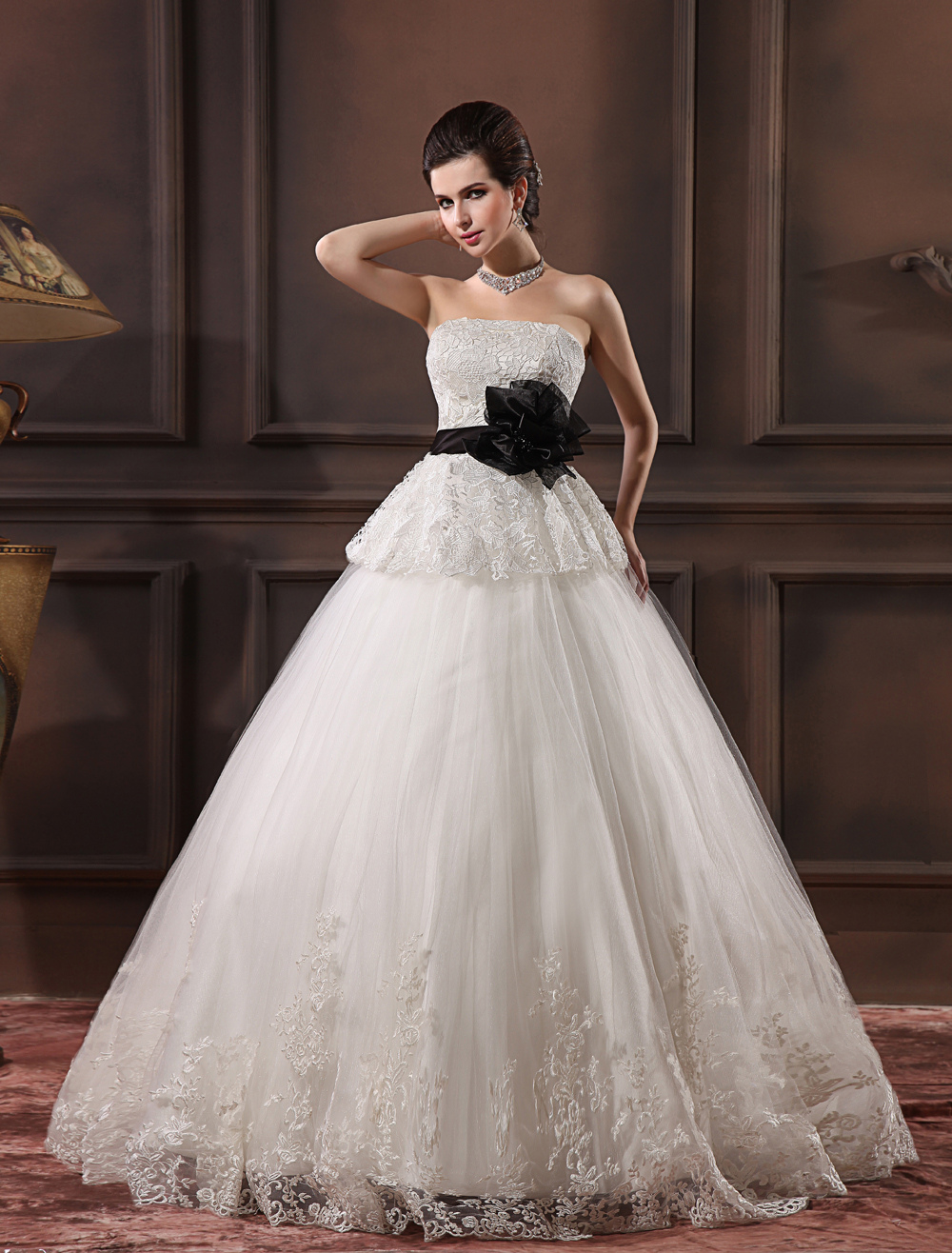 White Strapless Applique Lace Bridal Wedding Gown