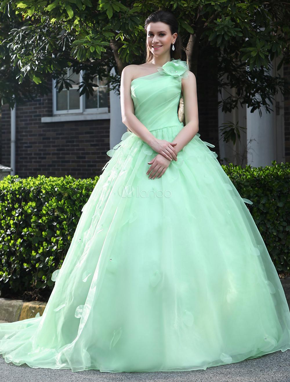 A-line One-Shoulder Flower Organza Bridal Wedding Dress