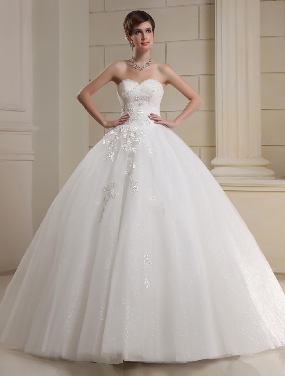 A-line Sweetheart Beading Tulle Bridal Wedding Dress