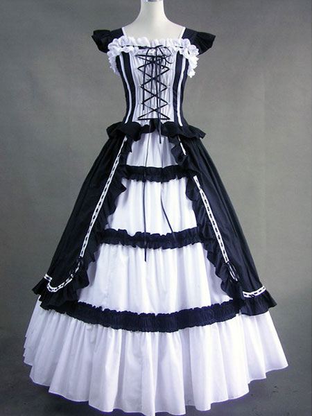 Gothic Victorian Black and White Long Lolita Dress steampunk buy now online