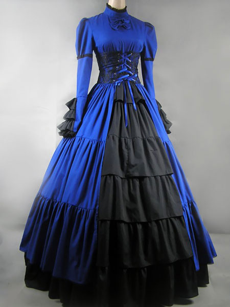Gothic Lolita Victorian Blue Long Dress Gown $127.99 AT vintagedancer.com