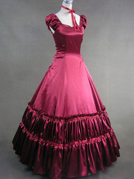 Renaissance Victorian Red Satin Classic Lolita Long Dress and Choker $126.99 AT vintagedancer.com