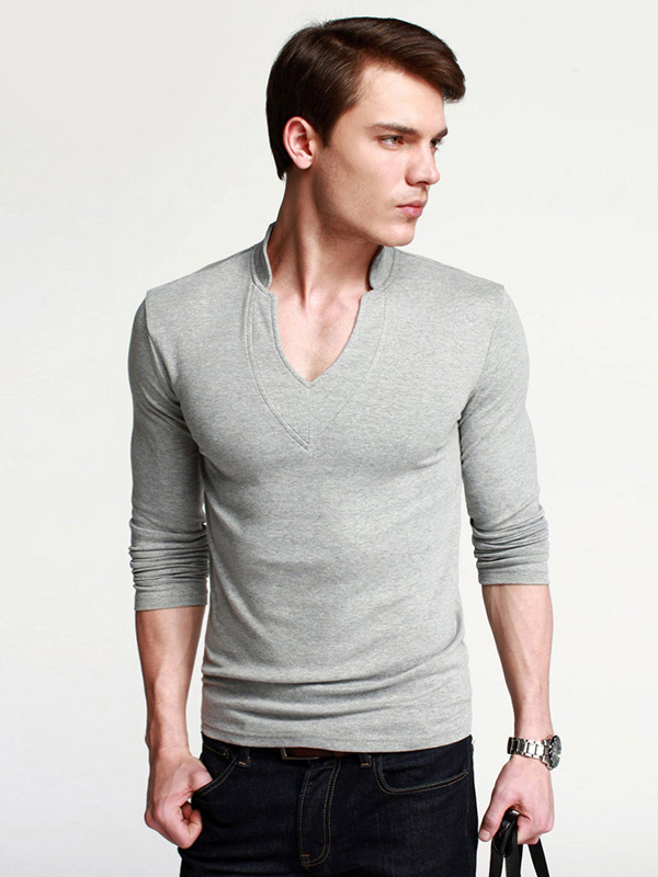 Handsome v neck solid color cotton t shirt for man for Plain colored v neck t shirts