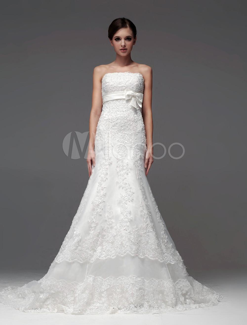 Robe de mariée fabuleuse A-ligne ivoire avec dentelle bustier ...