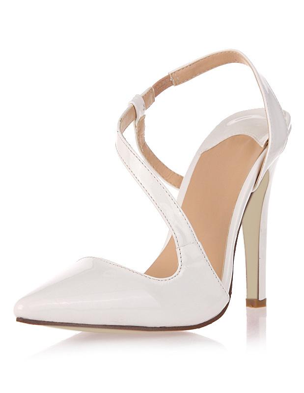White Patent PU Pointed Toe High Heels - Milanoo.com