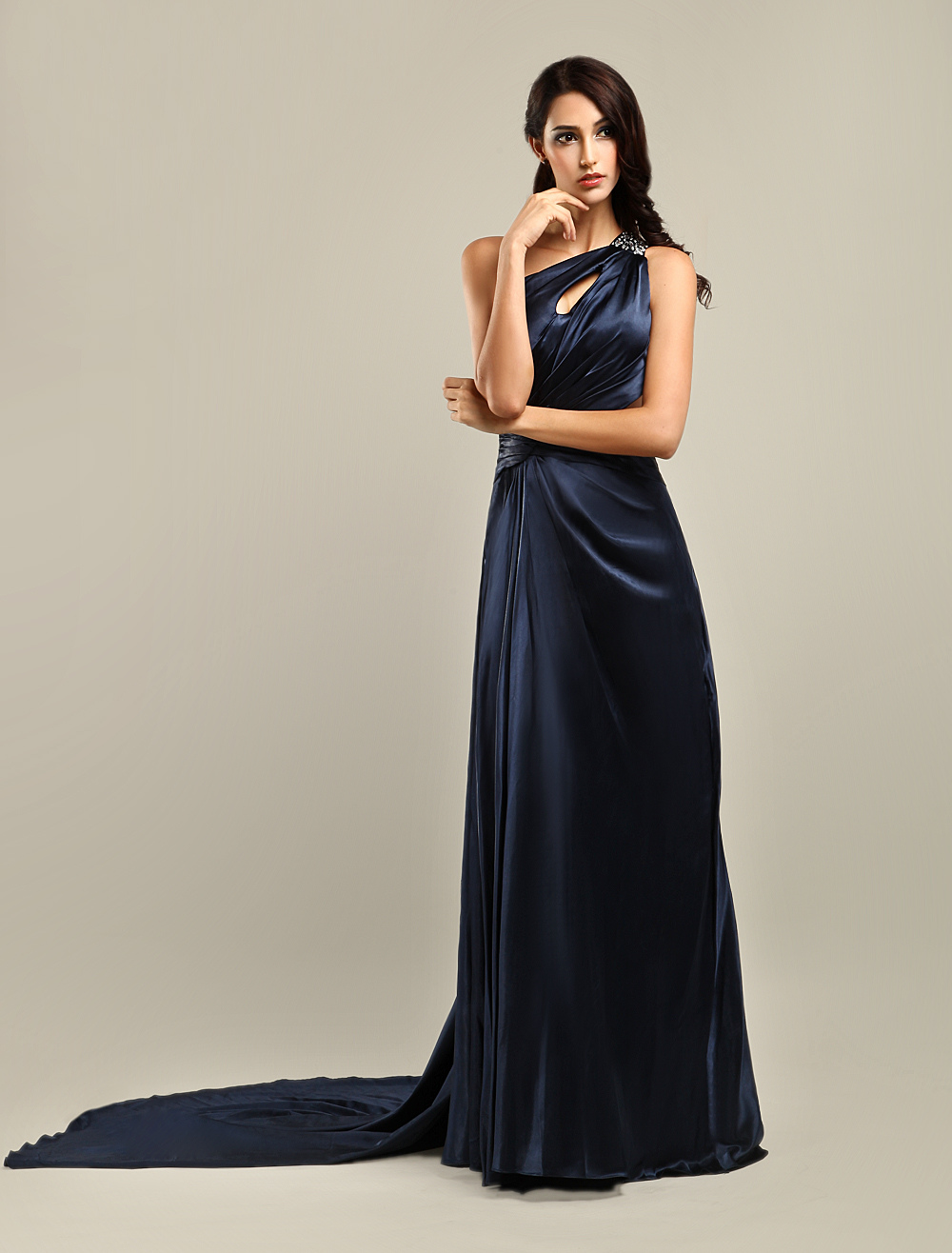 Elegant Black One-Shoulder Cut Out Satin Prom Dress (Wedding Prom Dresses) photo