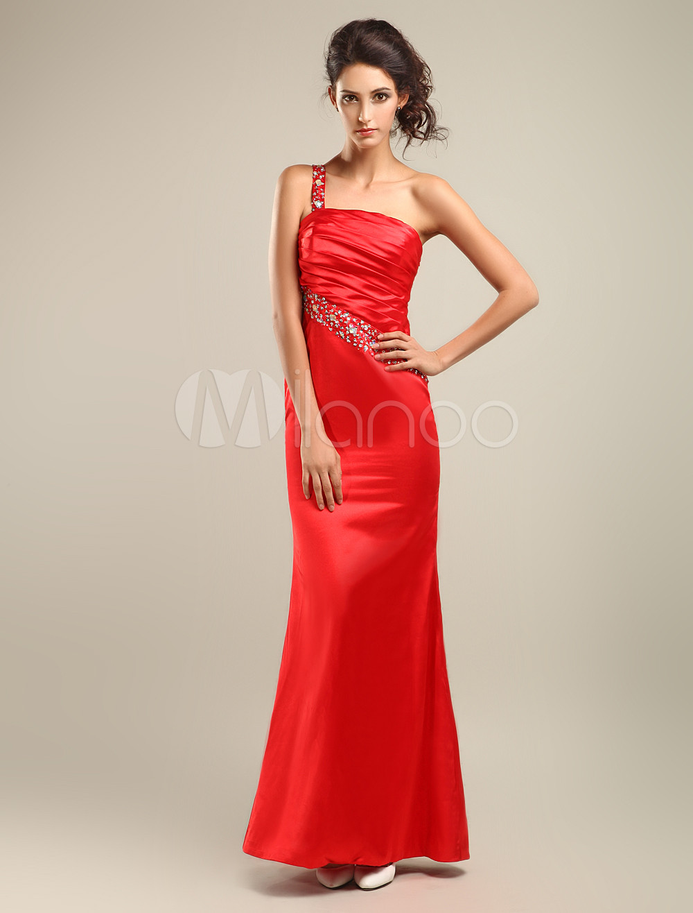 Elegant Slim Red Silk Like Satin One Shoulder Prom Dress (Wedding Prom Dresses) photo
