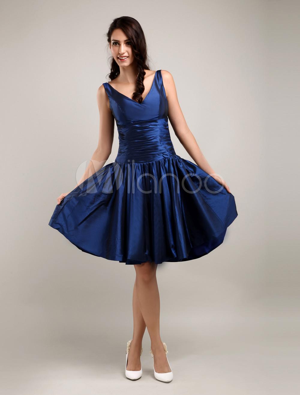 Enticing V-Neck Pleated Knee Length Taffeta Bridesmaid Dress