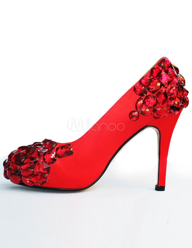 Zapatos de novia de color rojo de estilo retro,No.1