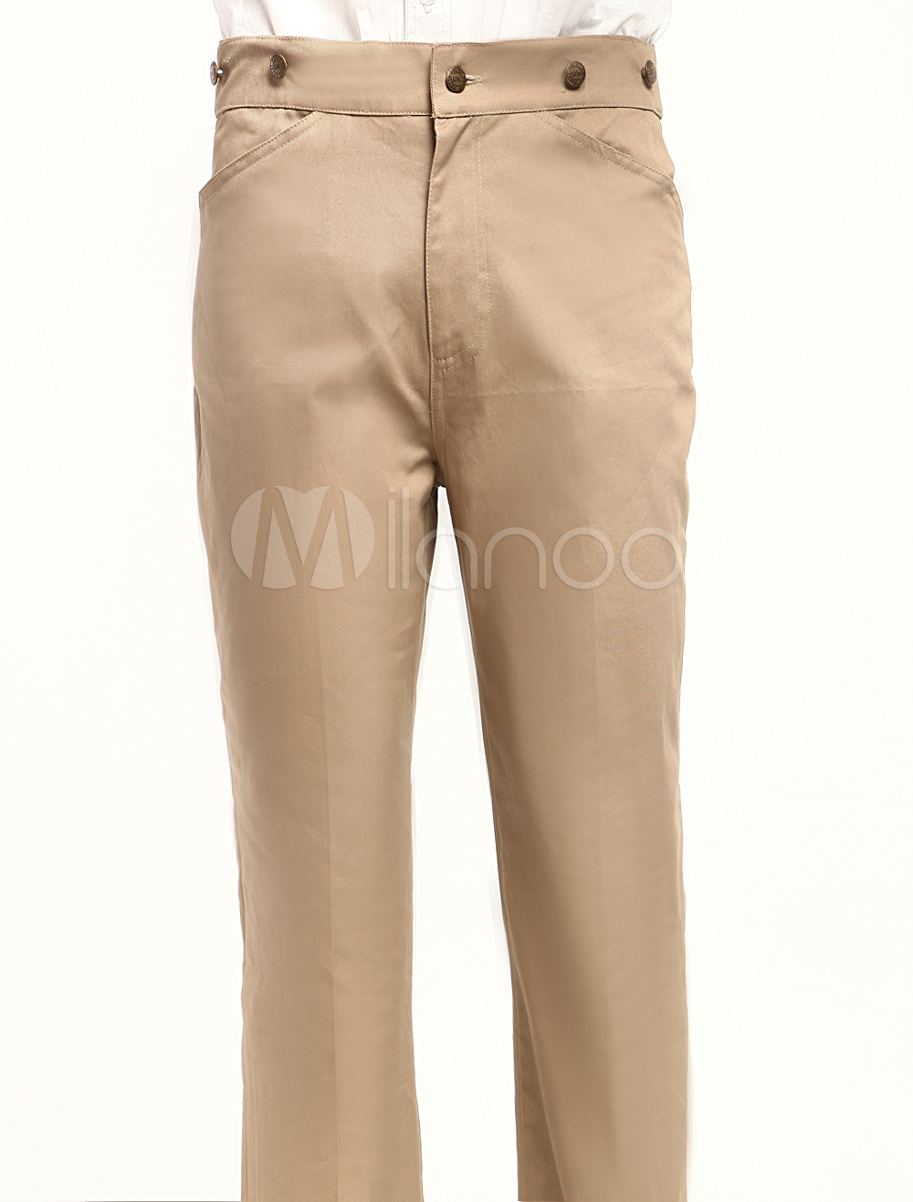 Popular Khaki Cotton Fabrics Mens Steampunk Trouser $49.99 AT vintagedancer.com