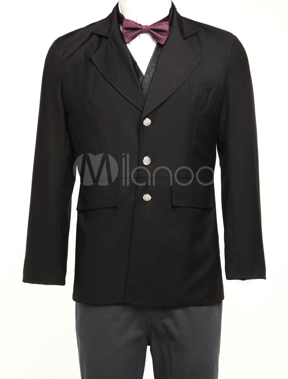 Quality Black Lapel Buttons Jazz Cloth Mens Steampunk Coat $74.99 AT vintagedancer.com